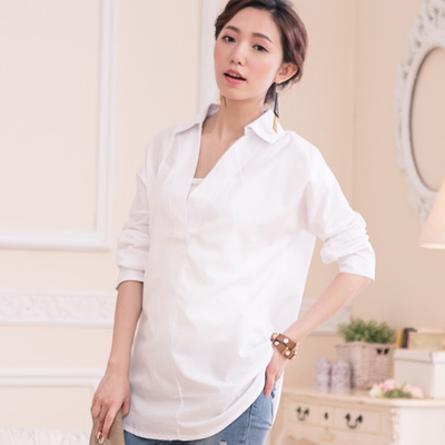 時尚V領透膚長襯衫