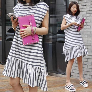 青春條紋拼接斜擺剪裁洋裝