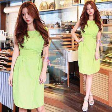 韓國時尚造型無袖修身洋裝