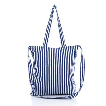 夏日湛藍條紋兩用帆布包
