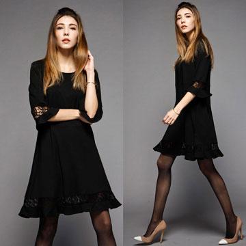 夢幻蕾絲縷空顯瘦洋裝
