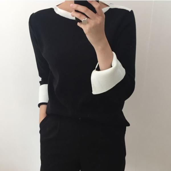 秋意濃厚反摺袖針織衫