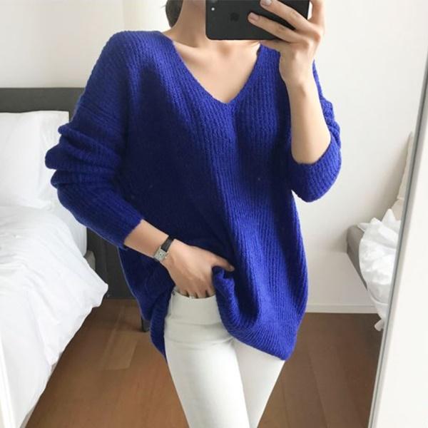 素色簡約V領針織毛衣