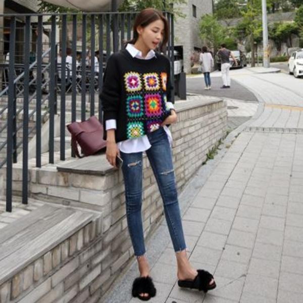 絢麗色彩編織保暖毛衣