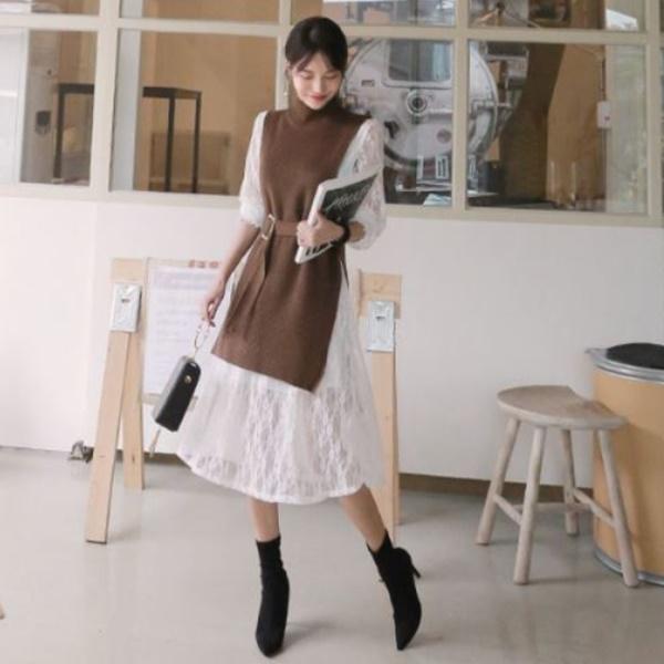 優雅高領針織連身裙