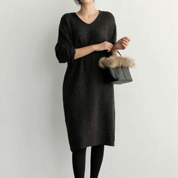 簡單V領針織連身裙
