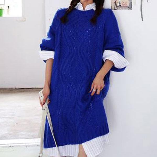 輕甜焦點針織連身長裙