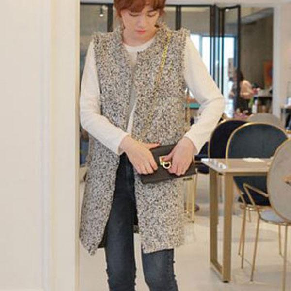 優雅毛織長版背心外套