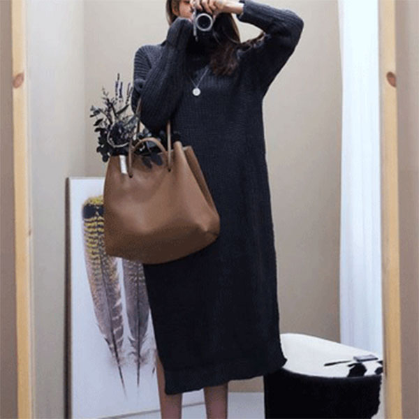 編織毛衣開衩連身裙