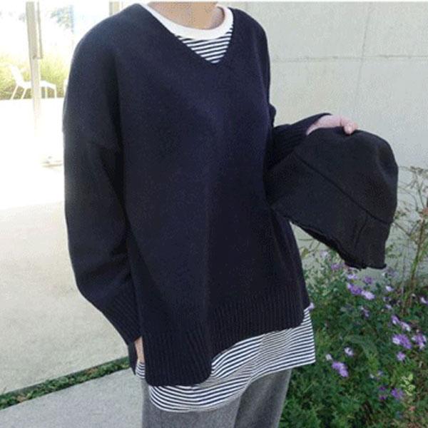 舒適純淨V領針織衫
