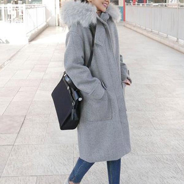 帽毛長袖拉鍊大衣