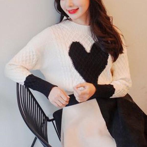 愛心針織長袖毛衣