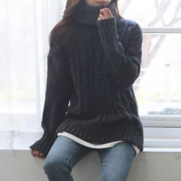 麻花高領針織毛衣