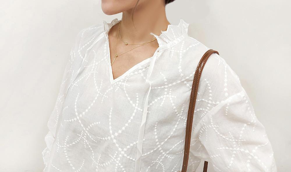 法式甜美緹花襯衫