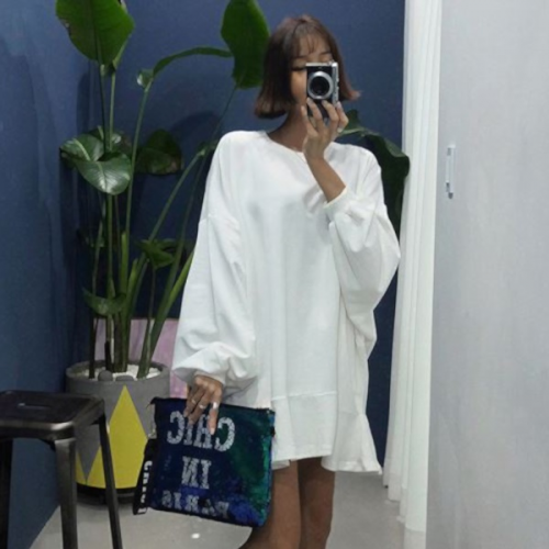 寬大傘狀剪裁連身裙,連身裙,寬版,長袖,lagirl,641557