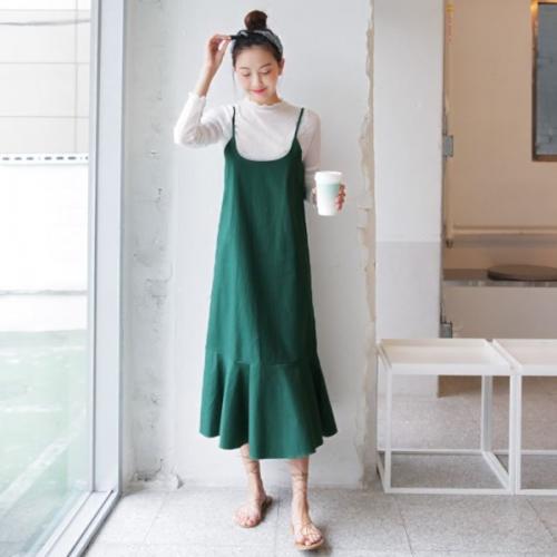 舒心大地吊帶魚尾長洋裝,連身洋裝,魚尾,吊帶,Dahong,641305