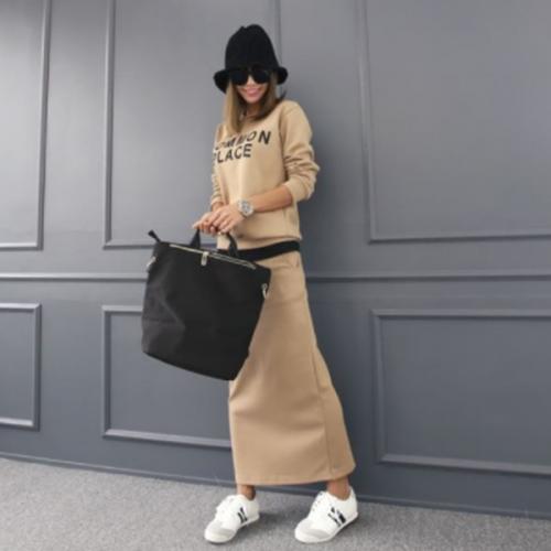 舒適修身長裙棉質套裝,正韓,正韓商品,套裝,上衣,長裙